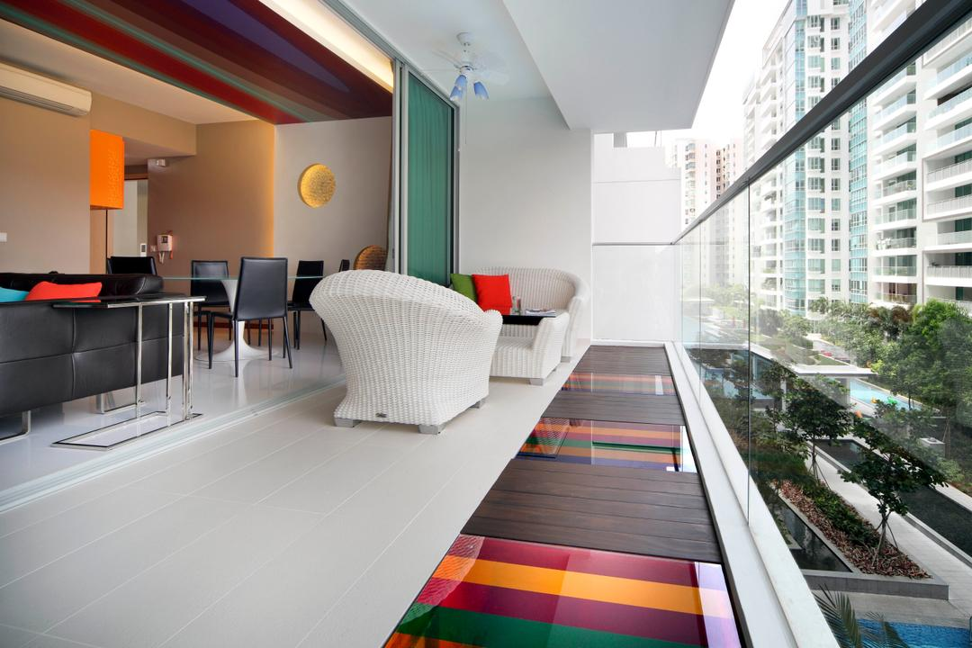 Kovan Residences, De Exclusive Design Group, Transitional, Balcony, HDB, Balcony Furniture, Lounge, Floor Panels, Panels, Colourful, Colours, Airy, Indoors, Interior Design