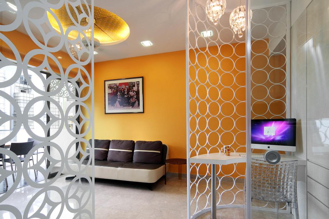 Montebleu, De Exclusive Design Group, Eclectic, Living Room, Condo, Partition, Study Table, Workstation, Work Desk, Orange Wall, Orange, Painting, Pendant Lamp, Indoors, Interior Design