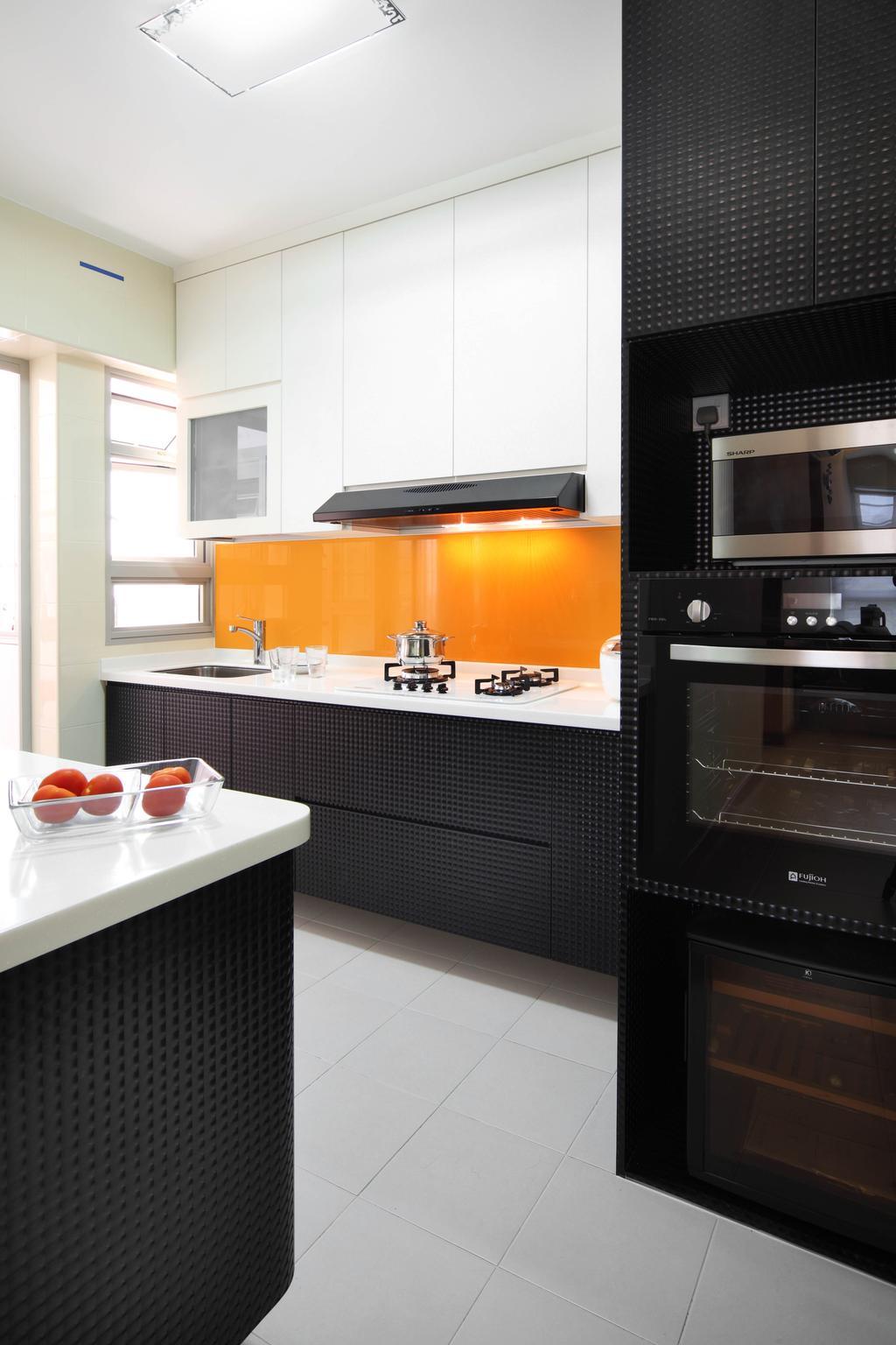 Eclectic, HDB, Kitchen, Punggol Place (Block 302C), Interior Designer, De Exclusive Design Group, Kitchen Cabinetry, Cabinets, Backplash, B W, Built In Oven, Kitchen Countertop, White Cabinets, Indoors, Interior Design, Room