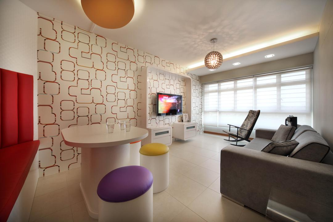 Punggol Place (Block 302C), De Exclusive Design Group, Eclectic, Living Room, HDB, Wallpaper, Geometric, Geometry, Dining Table, Stools, Round Stools, Colourful, Colours, Sofa, Couch, Pendant Lamp, Dining Room, Indoors, Interior Design, Room, Furniture, Rocking Chair, Building, Housing, Chair