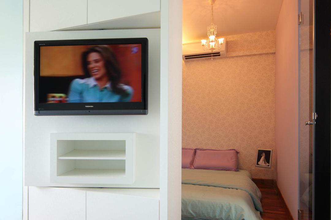 Punggol Place (Block 302C), De Exclusive Design Group, Eclectic, Bedroom, HDB, Tv Mount, Adjustable Tv Wall Mount, Shelving, Human, People, Person, Electronics, Monitor, Screen, Tv, Television, Light Fixture, Indoors, Interior Design, Room, Lcd Screen