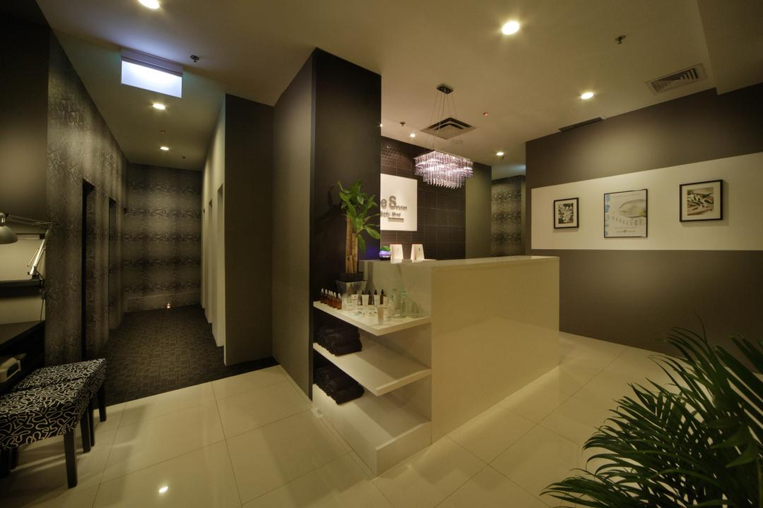Pure Solution, De Exclusive Design Group, Traditional, Commercial, Counter, Reception, Wall Decor, Wall Art, Shelves, Shelving, Dark Paint, Wallpaper, Sink, Bed, Furniture, Dining Room, Indoors, Interior Design, Room, Flora, Jar, Plant, Potted Plant, Pottery, Vase