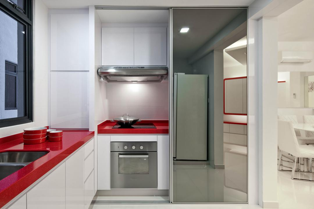 Regentville Tower 2 (A), De Exclusive Design Group, Transitional, Kitchen, Condo, Kitchen Countertop, Red Countertop, Exhaust Hood, Kitchen Cabinets, Cabinetry, Built In Oven, Indoors, Interior Design, Room