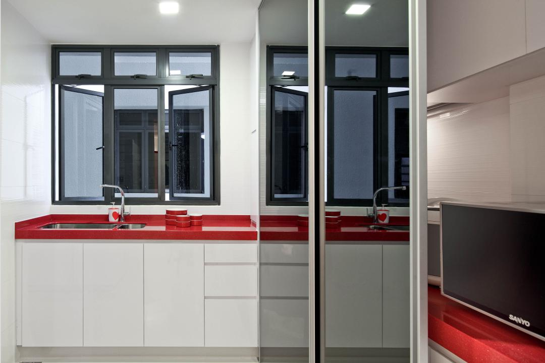 Regentville Tower 2 (A), De Exclusive Design Group, Transitional, Kitchen, Condo, Kitchen Cabinet, Cabinetry, Red Countertop, Kitchen Countertop, Refrigerator, Window, Appliance, Electrical Device, Microwave, Oven
