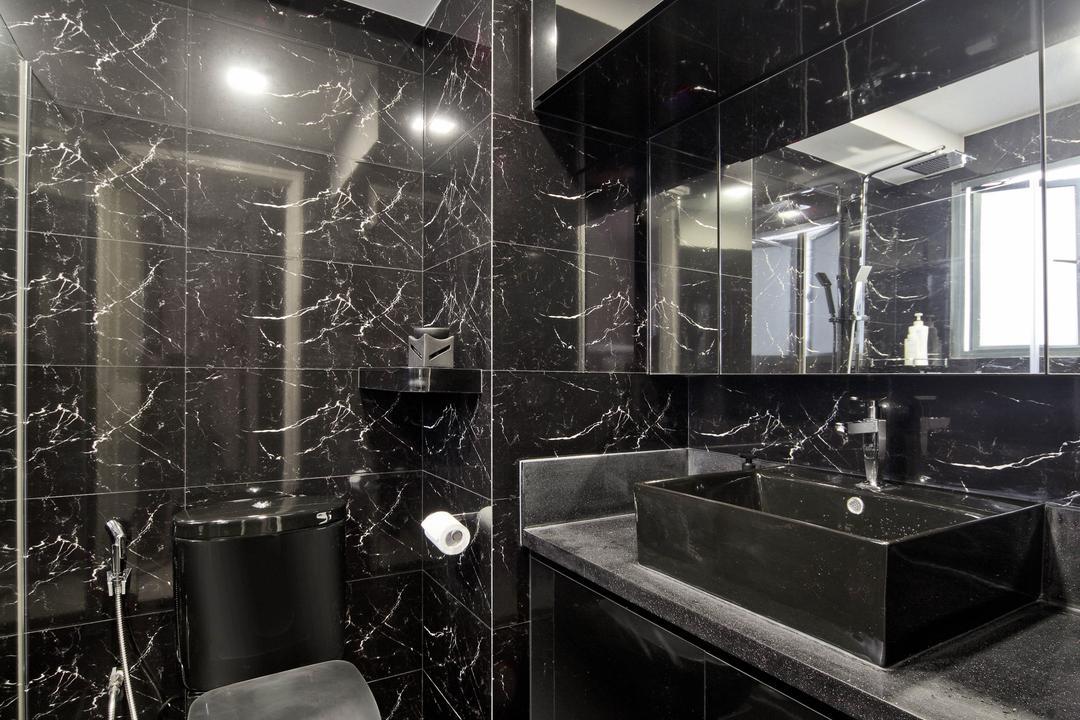 Regentville Tower 2 (A), De Exclusive Design Group, Transitional, Bathroom, Condo, Black, Chic, All Black, Dark Colours, Dark, Marble, Mirror, Bathroom Vanity, Bathroom Sink, Sink, Toilet Bowl, Water Closet, Indoors, Interior Design, Room