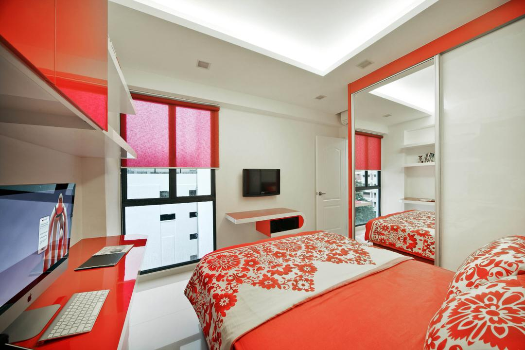Regentville Tower 2 (A), De Exclusive Design Group, Transitional, Bedroom, Condo, Bed, Red Furniture, Red, Bed Runner, Floral, Computer Desk, Study Table, Wardrobe, Indoors, Room, HDB, Building, Housing, Loft, Interior Design