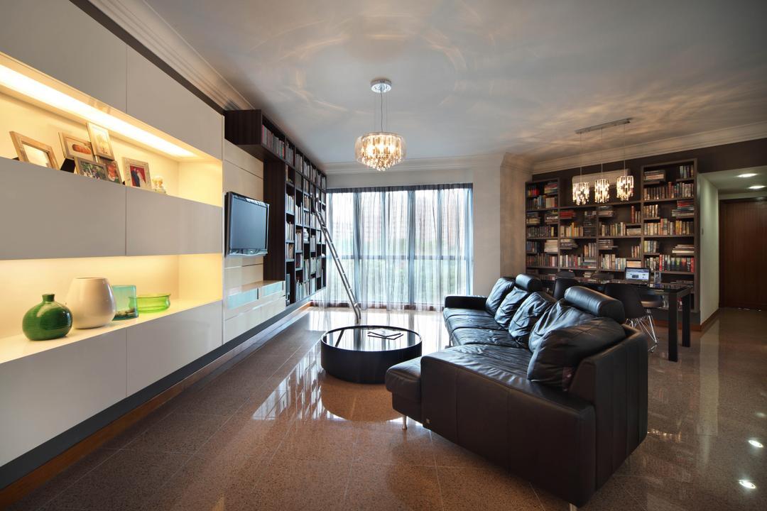 Regentville Tower 2 (B), De Exclusive Design Group, Contemporary, Living Room, Condo, Wall Shelf, Shelves, Shelving, Home Decor, Sofa, Leather Sofa, Coffee Table, Chandelier, Bookshelf, Dark Leather, Dark Brown, Couch, Furniture, Indoors, Interior Design