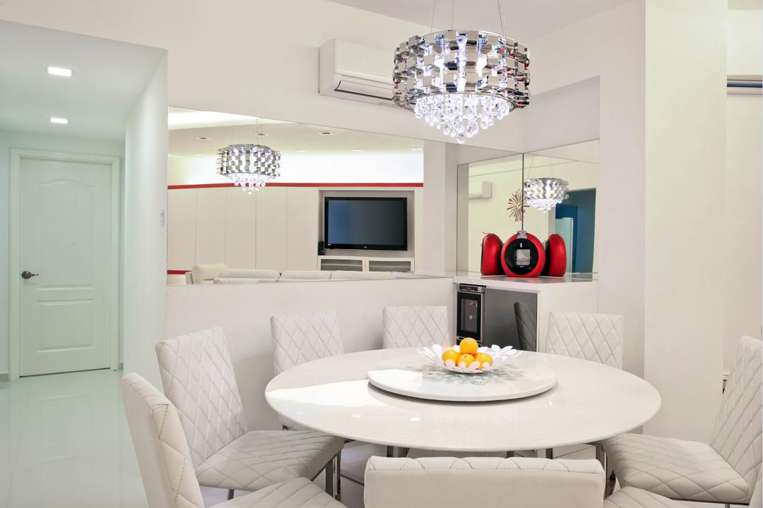 Regentville Tower 2 (A), De Exclusive Design Group, Transitional, Dining Room, Condo, Dining Table, Dining Chairs, Round Table Top, White Furniture, Chandelier, Crystal Lights, All White, Mirror, Lamp, Indoors, Interior Design, Room