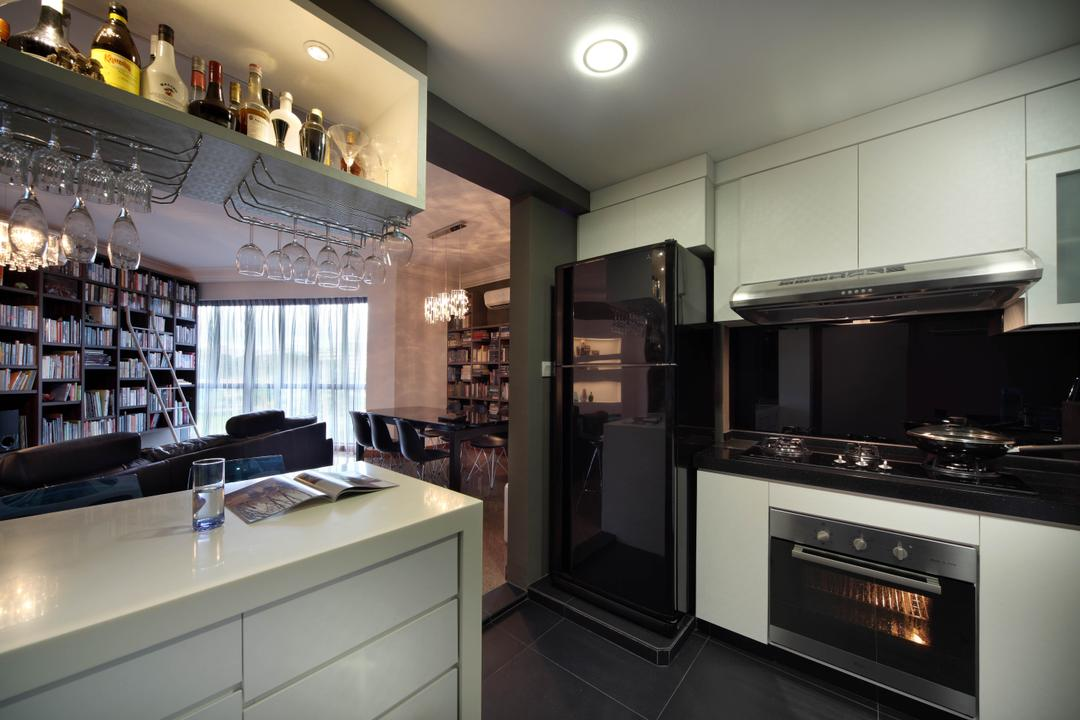 Regentville Tower 2 (B), De Exclusive Design Group, Contemporary, Kitchen, Condo, Kitchen Cabinetry, Cabinets, Kitchen Countertop, Hanging Shelves, Monochromatic, Monochrome, Black Countertop, Built In Oven, Refrigerator, Indoors, Interior Design, Room, Appliance, Electrical Device, Oven
