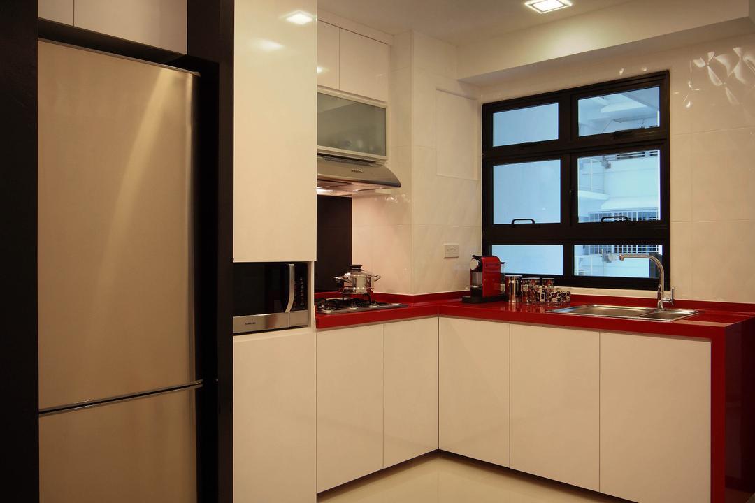 Sengkang West Avenue (Block 438B), De Exclusive Design Group, Transitional, Kitchen, HDB, Kitchen Cabinets, Cabinetry, Cove Lighting, Kitchen Countertop, Red Countertop, Wooden Beams, Indoors, Interior Design, Room