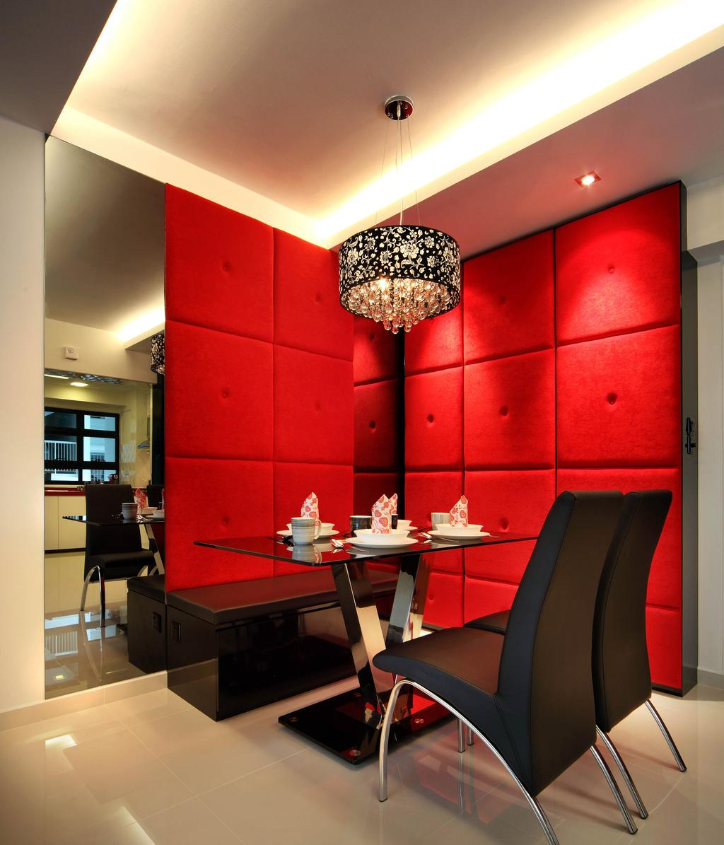 Transitional, HDB, Dining Room, Sengkang West Avenue (Block 438B), Interior Designer, De Exclusive Design Group, Red, Panels, Dining Table, Dining Chairs, Pendant Lamp, Hanging Lamp, Cove Lighting, Mirror, Cushion Wall, Upholstered Wall, Chair, Furniture, Indoors, Interior Design, Room, Restaurant