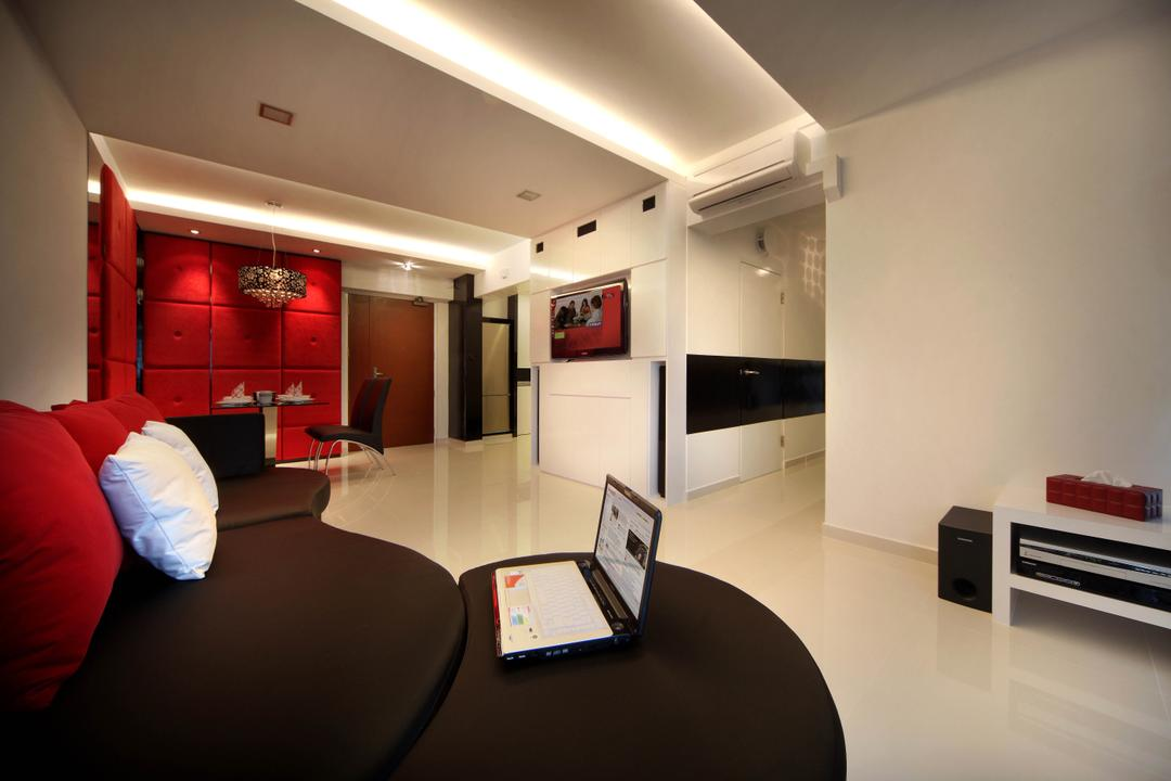 Sengkang West Avenue (Block 438B), De Exclusive Design Group, Transitional, Living Room, HDB, Sofa, Couch, Sectionals, Laptop, Cushion, Red, Cove Lighting, Speaker, Tv Console, Lounge, Computer, Electronics, Pc, Indoors, Interior Design