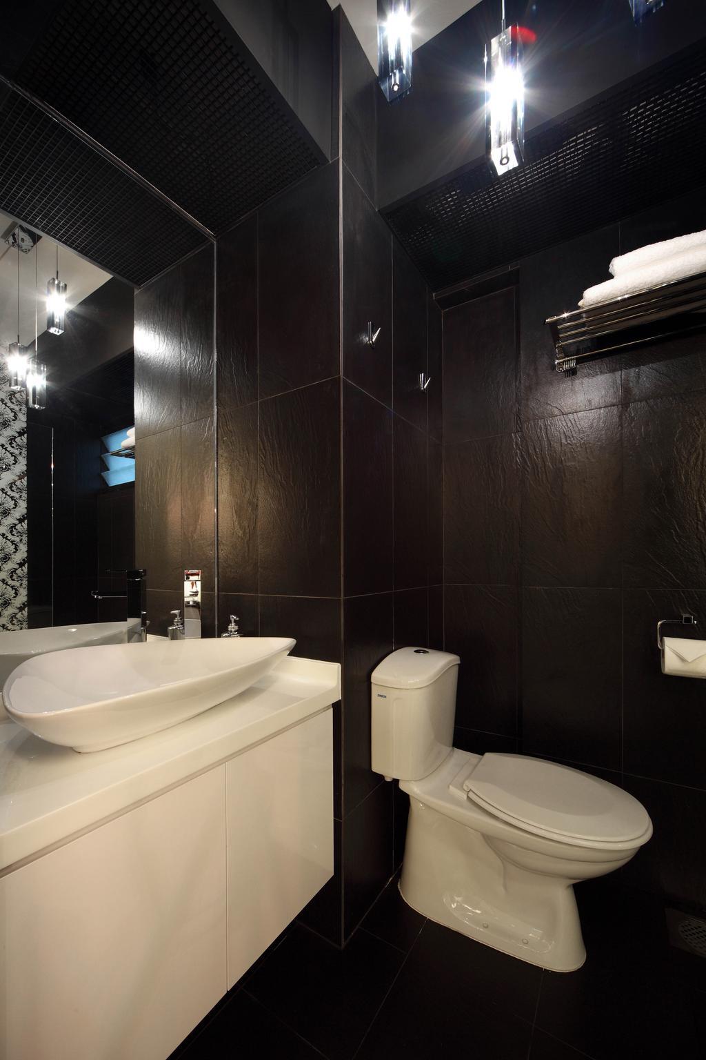 Transitional, HDB, Bathroom, Sengkang West Avenue (Block 438B), Interior Designer, De Exclusive Design Group, Toilet Bowl, Water Closet, Bathroom Vanity, Mirror, Bathroom Sink, Sink, Dark Walls, Dark, Towel Rack, Black Walls, Indoors, Interior Design, Room
