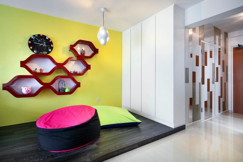 Eclectic, HDB, Living Room, Yishun Ring Road (Block 448), Interior Designer, De Exclusive Design Group, Cushions, Wall Shelf, Shelves, Shelving, Yellow, Red, Wall Clock, Clock, Pendant Lamp, Platform, Indoors, Interior Design, Floor, Flooring