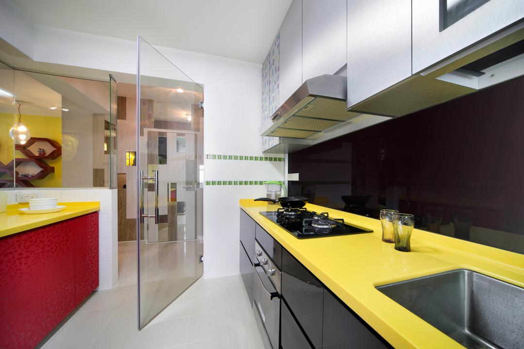 Yishun Ring Road (Block 448), De Exclusive Design Group, Eclectic, Kitchen, HDB, Kitchen Cabinet, Cabinetry, Kitchen Countertop, Backsplash, Exhaust Hood, Stove, Yellow, Red, Bright Colours, Colourful, Glass Door, Appliance, Electrical Device, Oven