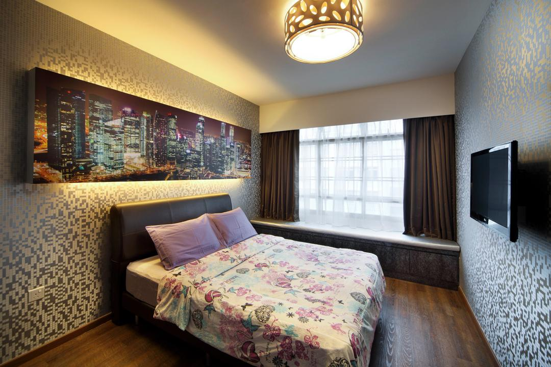 Yishun Ring Road (Block 448), De Exclusive Design Group, Eclectic, Bedroom, HDB, Wallpaper, Bed, Floral, Floral Bedsheet, Painting, Wall Decor, Wall Art, Lighting, Curtain, Indoors, Interior Design, Room, Furniture