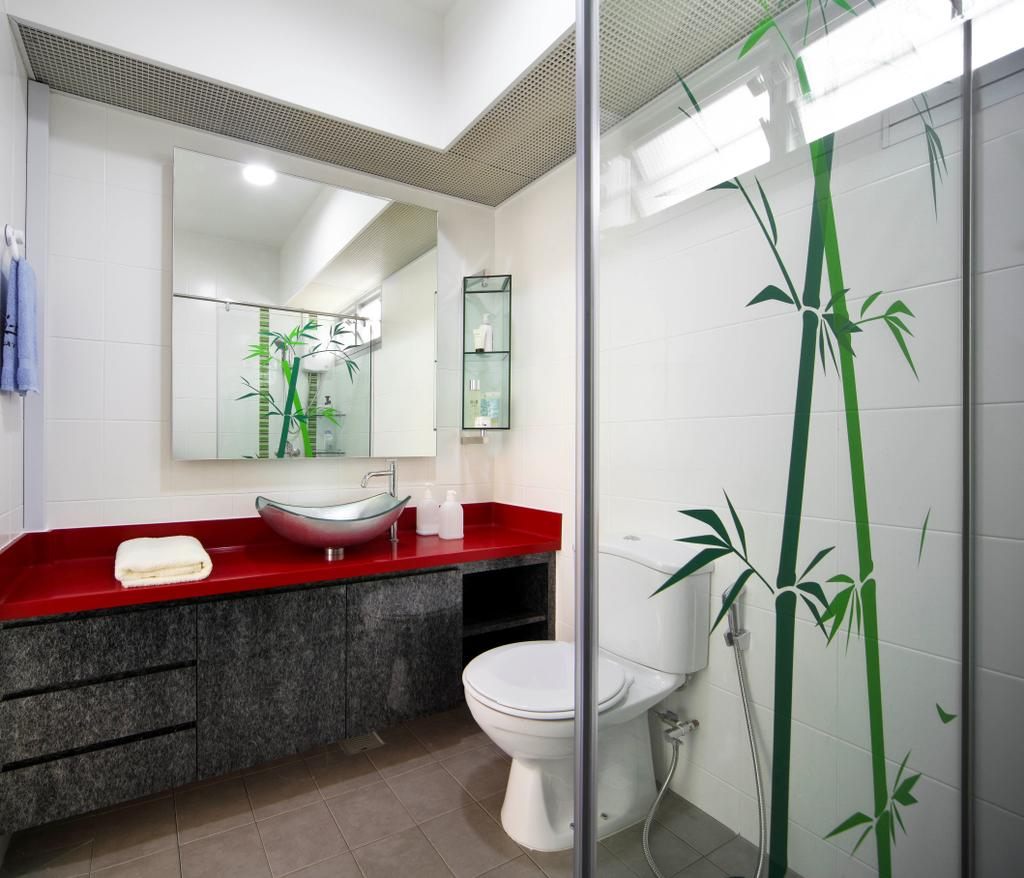 Eclectic, HDB, Bathroom, Yishun Ring Road (Block 448), Interior Designer, De Exclusive Design Group, Shower Screen, Bamboo, Plant Decor, Toilet Bowl, Water Closet, Bathroom Sink, Sink, Mirror, Bathroom Vanity, Indoors, Interior Design, Room, Flora, Jar, Plant, Potted Plant, Pottery, Vase