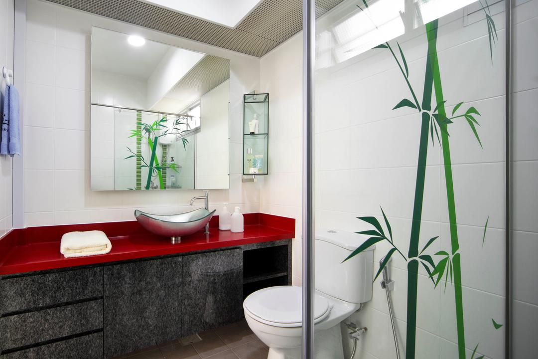 Yishun Ring Road (Block 448), De Exclusive Design Group, Eclectic, Bathroom, HDB, Shower Screen, Bamboo, Plant Decor, Toilet Bowl, Water Closet, Bathroom Sink, Sink, Mirror, Bathroom Vanity, Indoors, Interior Design, Room, Flora, Jar, Plant, Potted Plant, Pottery, Vase