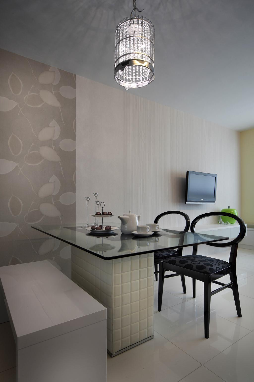 Traditional, HDB, Dining Room, The Pinnacle@Duxton, Interior Designer, De Exclusive Design Group, Dining Table, Dining Chairs, Bench, Wallpaper, Pendant Lamp, Hanging Lamp, Chair, Furniture, Bathroom, Indoors, Interior Design, Room
