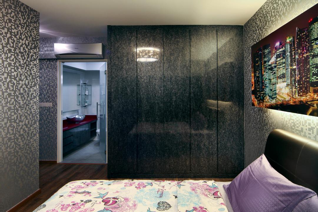 Yishun Ring Road (Block 448), De Exclusive Design Group, Eclectic, Bedroom, HDB, Floral Bedsheet, Floral, Dark, Dark Furniture, Dark Colours, Painting, Wallpaper, Aircon, Sink, Indoors, Interior Design, Room, Chair, Furniture