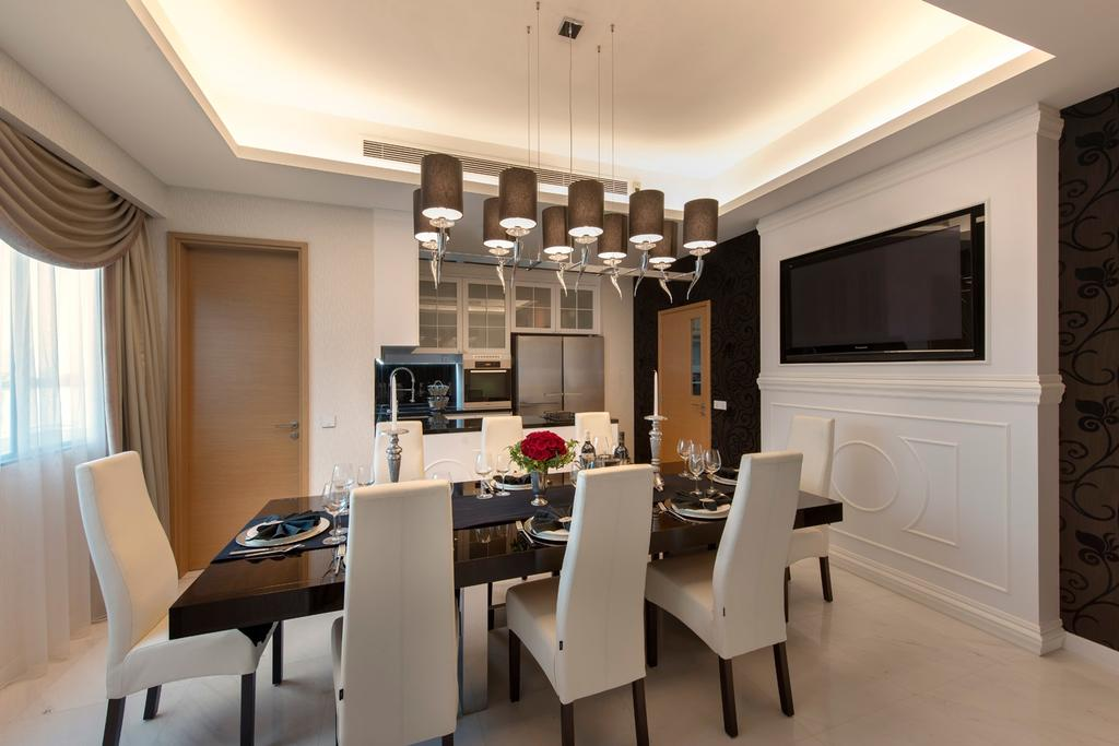 Transitional, Condo, Dining Room, Waterfall Garden, Interior Designer, Space Vision Design, Hanging Light, Marble Tiles, Marble Tile, Floral, Floral Wallpaper, Wallpaper, Wall Panels, White, Concealed Lighting, False Ceiling, Dining Table, Dining, Furniture, Table, Chair, Indoors, Interior Design, Room