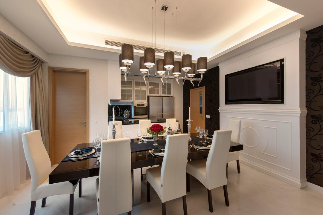 Waterfall Garden, Space Vision Design, Transitional, Dining Room, Condo, Hanging Light, Marble Tiles, Marble Tile, Floral, Floral Wallpaper, Wallpaper, Wall Panels, White, Concealed Lighting, False Ceiling, Dining Table, Dining, Furniture, Table, Chair, Indoors, Interior Design, Room