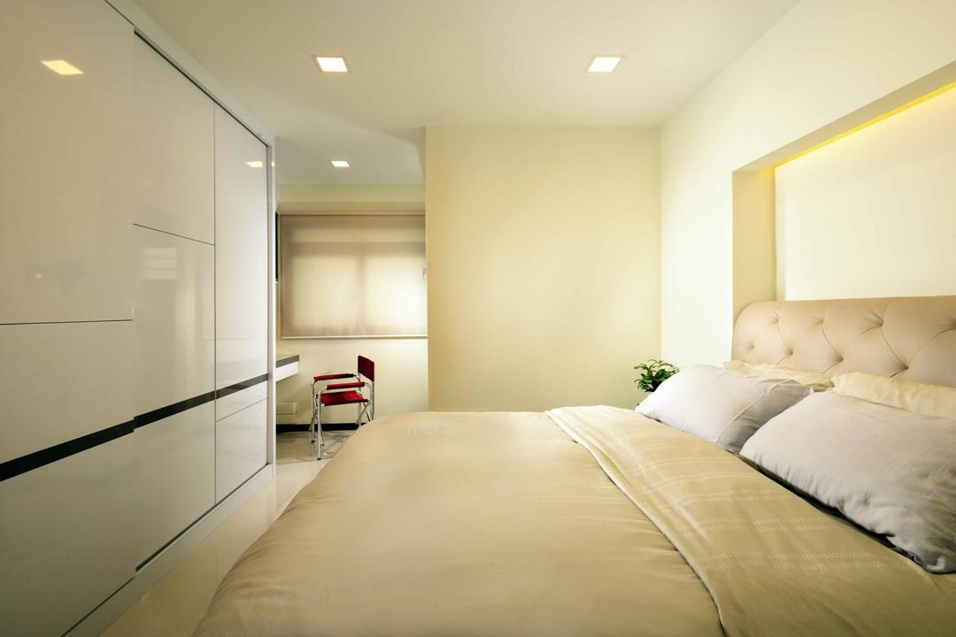 Jurong West (Block 850), Urban Habitat Design, Modern, Minimalistic, Bedroom, HDB, Headboard, Warm Tones, Gold, Wardrobe, Chairs, Blinds, Light Gold, Indoors, Interior Design, Room