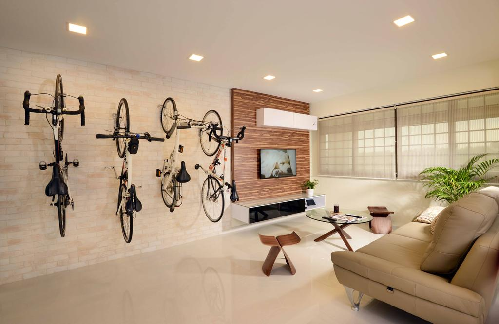 Modern, HDB, Living Room, Jurong West (Block 850), Interior Designer, Urban Habitat Design, Minimalistic, Bicycle Rack, Wall Bicycle Rack, Feature Wall, Brick Walls, Beige, Natural Colours, Tv Console, Floating Console, Coffee Table, Stool, Sofa, Leather Sofa, Blinds, Zen, Bow, Bicycle, Bike, Transportation, Vehicle, Indoors, Interior Design, Couch, Furniture, Spa, Flora, Jar, Plant, Potted Plant, Pottery, Vase