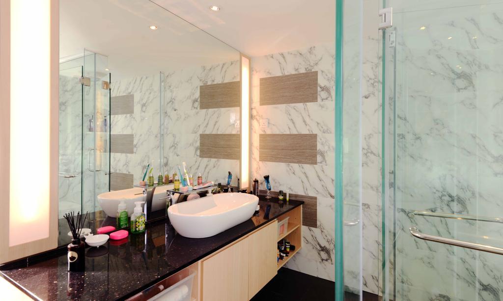 Industrial, Condo, Bathroom, Rafflesia, Interior Designer, Urban Habitat Design, Traditional, Bathroom Vanity, Bathroom Sink, Sink, Mirror, Marble, Shower Screen, Indoors, Interior Design, Room, Appliance, Electrical Device, Oven