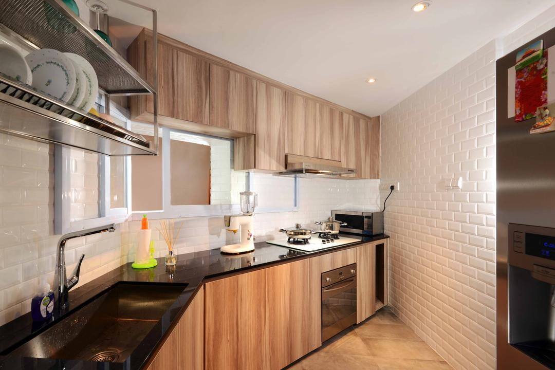 Rafflesia, Urban Habitat Design, Industrial, Traditional, Kitchen, Condo, Kitchen Cabinet, Cabinetry, Kitchen Rack, Floating Kitchen Rack, Wood Laminates, Wood Grains, Kitchen Countertop, Black Countertop, Sink, White Brick Wall, Subway Tiles, Indoors, Interior Design, Room