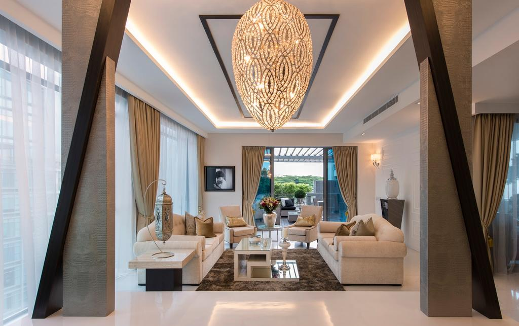 Transitional, Condo, Living Room, Waterfall Garden, Interior Designer, Space Vision Design, Columns, False Ceiling, Concealed Lighting, Rug, Full Length Windows, Airy, Sculpture, Coffee Table, Table, Side Table, Hanging Light, Pendant Light, Indoors, Interior Design, Room, Banister, Handrail, Staircase, Furniture