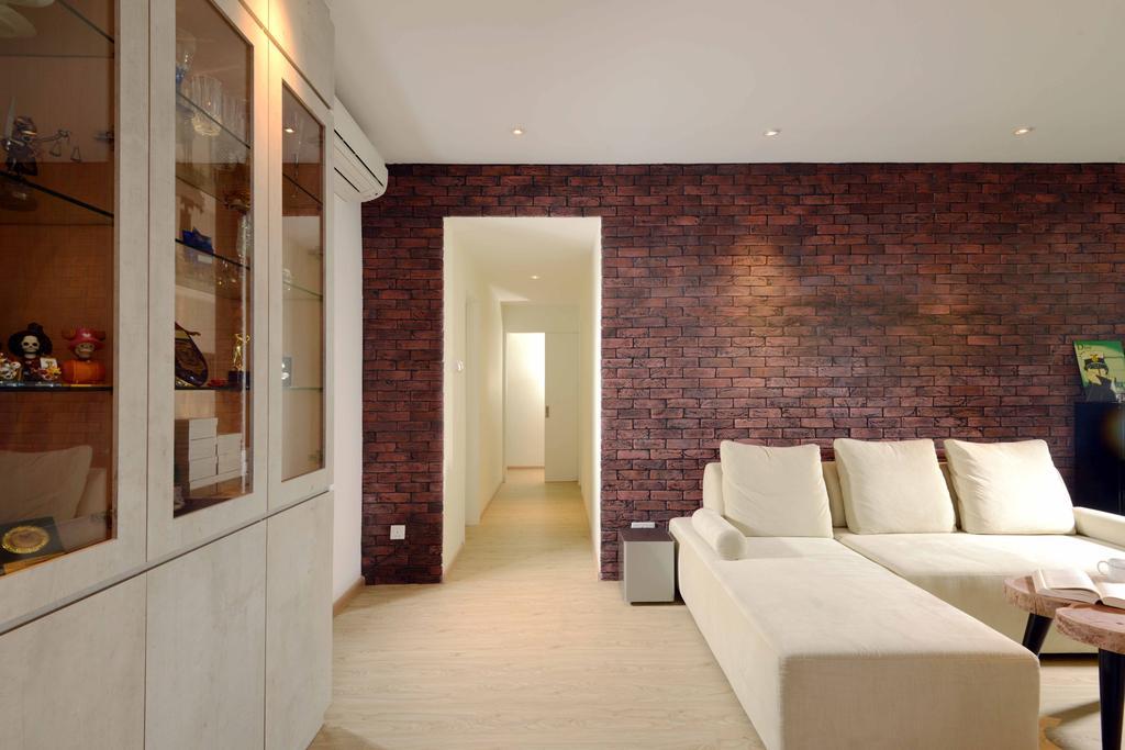Industrial, Condo, Rafflesia, Interior Designer, Urban Habitat Design, Traditional, L Shaped Sofa, Sectionals, Cream Sofa, Sofa, Brick Walls, Red Brick Wall, Cabinet, Cabinetry, Indoors, Interior Design