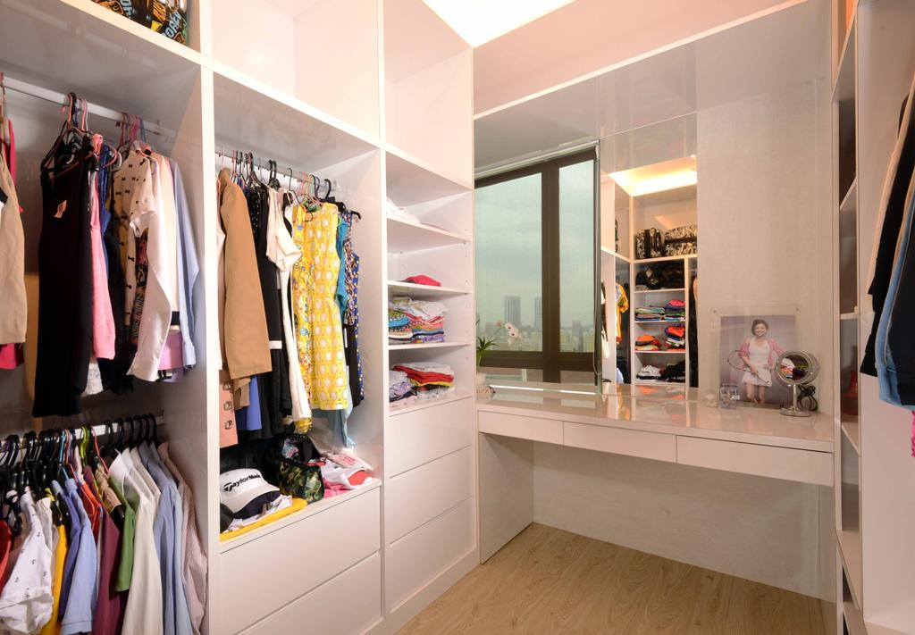 Industrial, Condo, Bedroom, Rafflesia, Interior Designer, Urban Habitat Design, Traditional, Walk In Wardrobe, Wardrobe, Dressing Room, Dressing Table, Clothes, Mirror, Closet