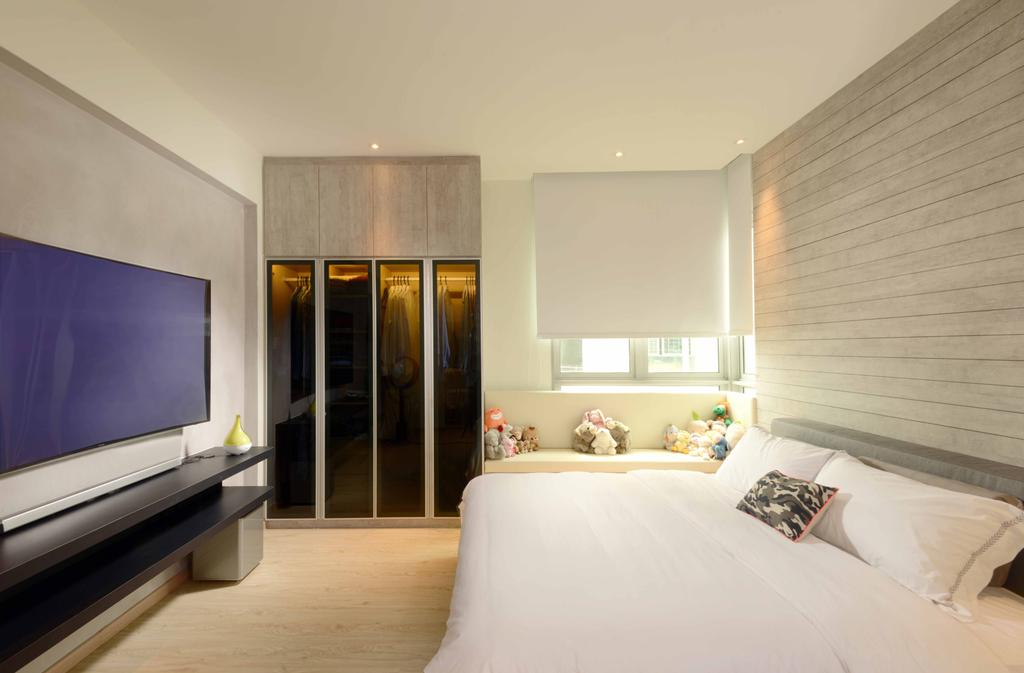 Industrial, Condo, Bedroom, Rafflesia, Interior Designer, Urban Habitat Design, Traditional, Bed, White Bed, White, Blinds, Roller Blinds, Clean, Bright, Wardrobe, Tv, Floating Console, Tv Console, Subway Tiles, Indoors, Interior Design, Room, Curtain, Home Decor, Window, Window Shade