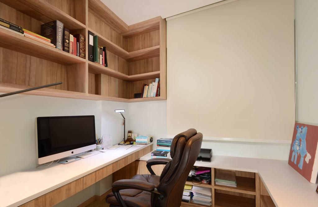 Industrial, Condo, Study, Rafflesia, Interior Designer, Urban Habitat Design, Traditional, Study Table, Computer Desk, Computer, Office Chair, Shelves, Wall Shelf, Floating Shelves, Blinds, Roller Blinds, Storage Space, Chair, Furniture, Bookcase