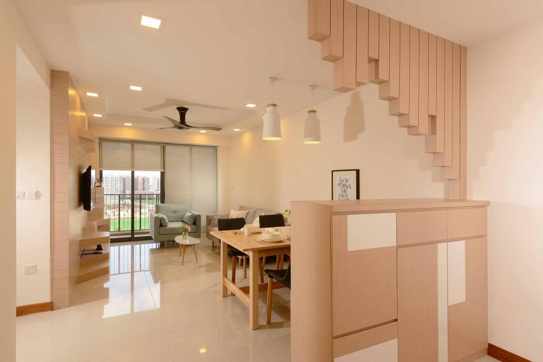 Anchorvale Cresent (Block 336D), Urban Habitat Design, Minimalistic, Scandinavian, Dining Room, HDB, Light Woo, Light Colours, Neutral Colours, Beams, Wooden Beams, Pendant Lamp, Hanging Lamp, Clean, Clear, Cabinet, Cabinetry, Recessed Lighting, Dining Table, Furniture, Table