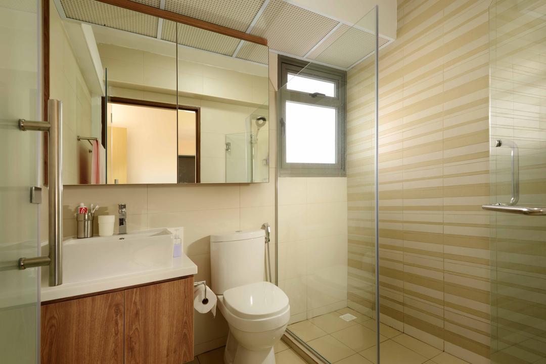 Anchorvale Cresent (Block 336D), Urban Habitat Design, Minimalistic, Scandinavian, Bathroom, HDB, Bathroom Vanity, Sink, Bahtroom Sink, Mirror, Toilet Bowl, Water Closet, Bathroom Cabinet, Shower Area, Striped Wallpaper, Indoors, Interior Design, Room
