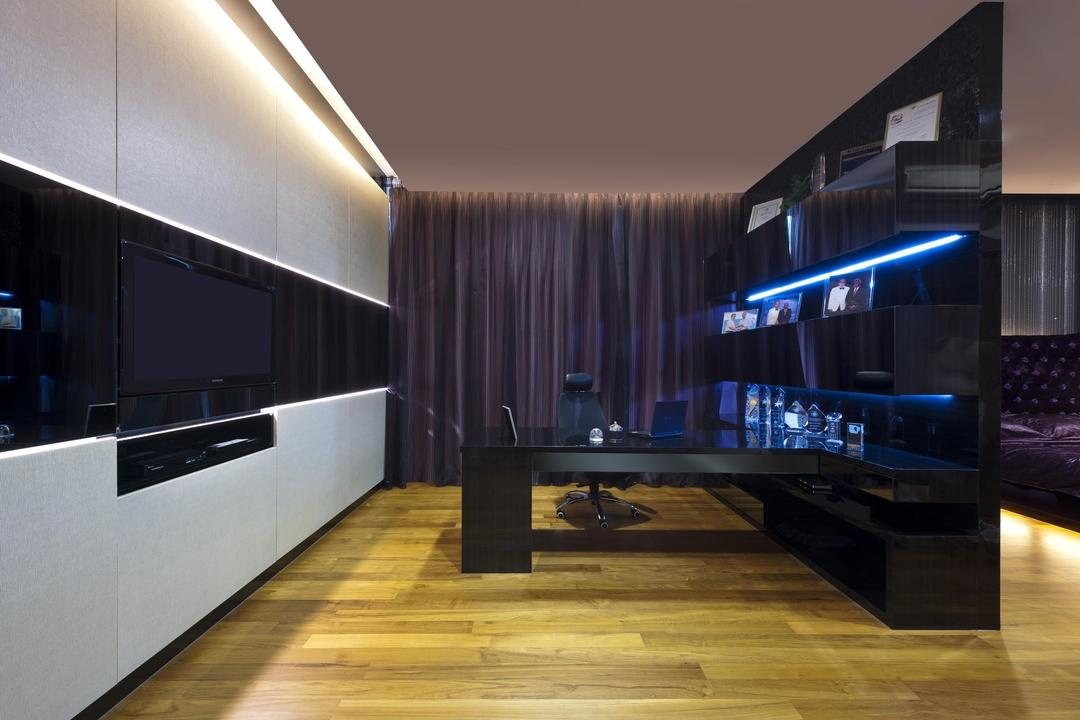 Thomson Bungalow, Space Vision Design, Eclectic, Study, Landed, Parquet, Concealed Lighting, Black, White, Purple, Display Unit, Laminate, Glossy, Mounted Table, Recessed Lighting, Table, Indoors, Interior Design, Lighting, Flooring