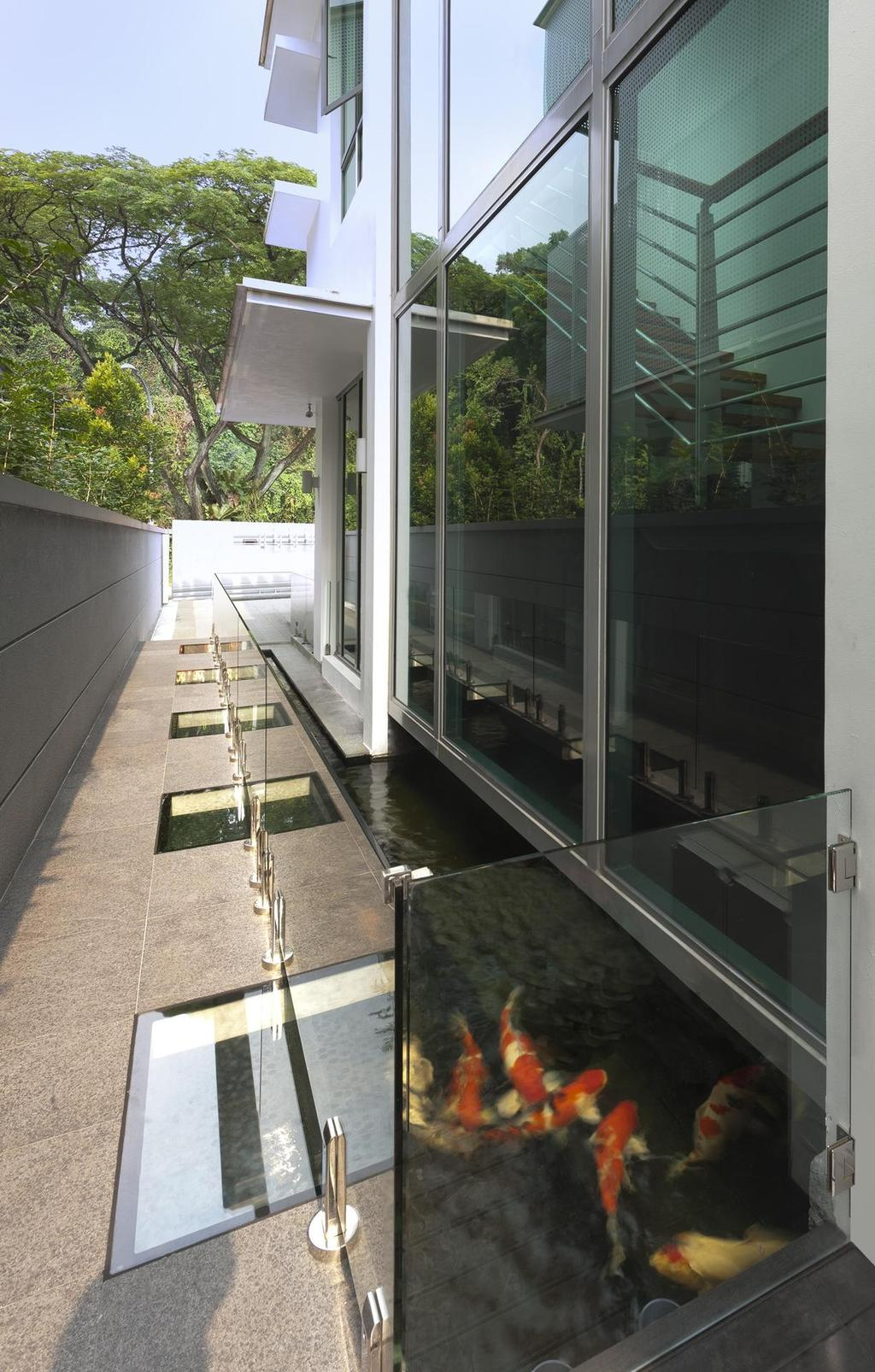 Eclectic, Landed, Garden, Thomson Bungalow, Interior Designer, Space Vision Design, Water, Feature, Pond, Fish, Glass, Balustrade, Full Length Windows, Plant, Exterior, Outdoor, Flora, Jar, Potted Plant, Pottery, Vase