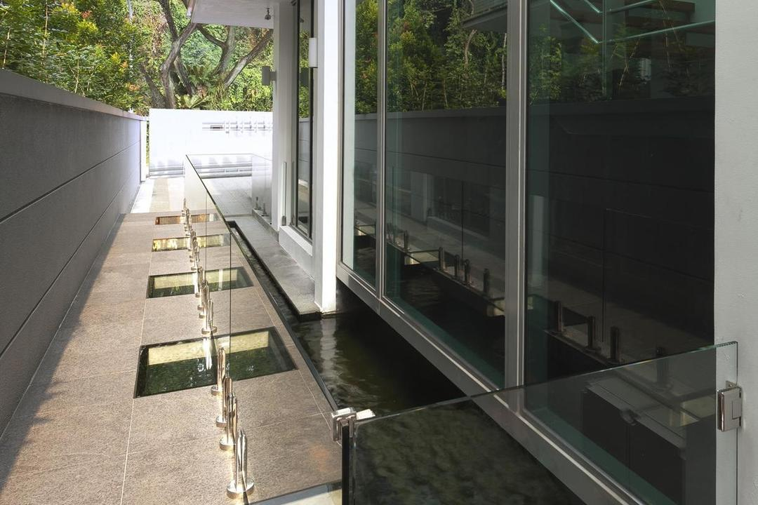 Thomson Bungalow, Space Vision Design, Eclectic, Garden, Landed, Water, Feature, Pond, Fish, Glass, Balustrade, Full Length Windows, Plant, Exterior, Outdoor, Flora, Jar, Potted Plant, Pottery, Vase