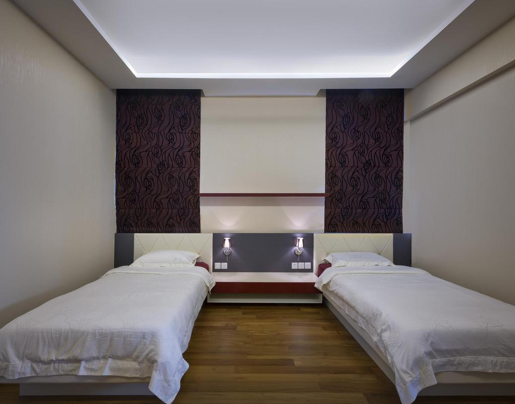 Eclectic, Landed, Bedroom, Thomson Bungalow, Interior Designer, Space Vision Design, False Ceiling, Concealed Lighting, Quilted Headboard, Tufted Headboard, Headboard, Parquet, Side Table, Table, White, Wallpaper, Floral Wallpaper, Floral, Gray, Minimalistic, Bed, Furniture, Indoors, Interior Design, Room