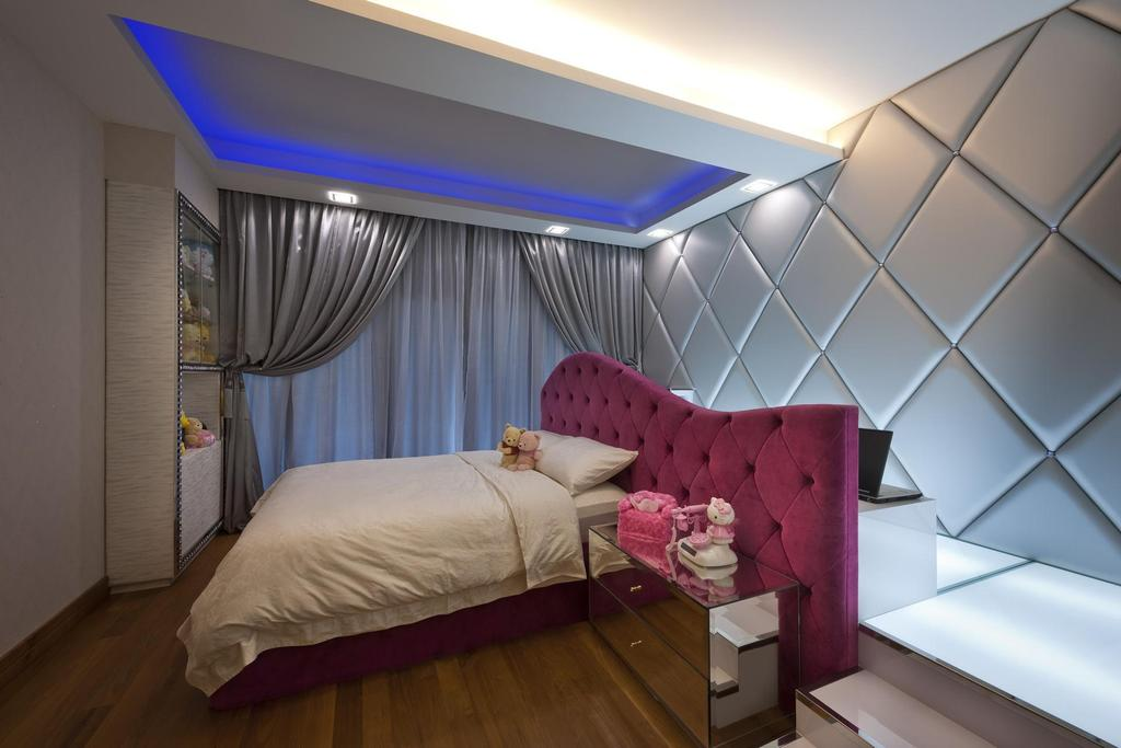Eclectic, Landed, Bedroom, Thomson Bungalow, Interior Designer, Space Vision Design, Pink, Silver, Blue, Concealed Lighting, False Wall, Steps, Platform, Feature Wall, Quilted, Display Unit, Tufted Headboard, Quilted Headboard, Headboard, Side Table, Table, Parquet, Couch, Furniture