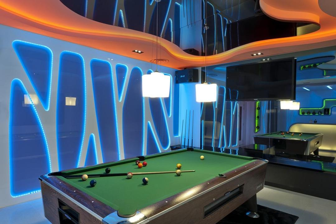 Thomson Bungalow, Space Vision Design, Eclectic, Landed, Lounge, Pool Table, Mirror, False Ceiling, Rug, Marble Tile, Marble Tiles, Hanging Light, Pendant Light, Feature Wall, Mounted Speakers, Billiard Room, Furniture, Indoors, Room, Table