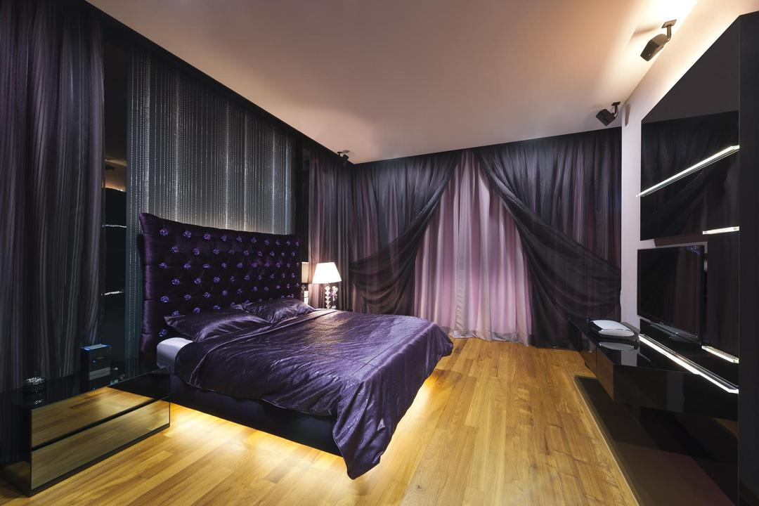 Thomson Bungalow, Space Vision Design, Eclectic, Bedroom, Landed, Black, Purple, White, Parquet, Display Unit, Laminate, Glossy, Curtains, Side Table, Headboard, Wallpaper, Tufted Headboard, Concealed Lighting, Indoors, Interior Design, Room