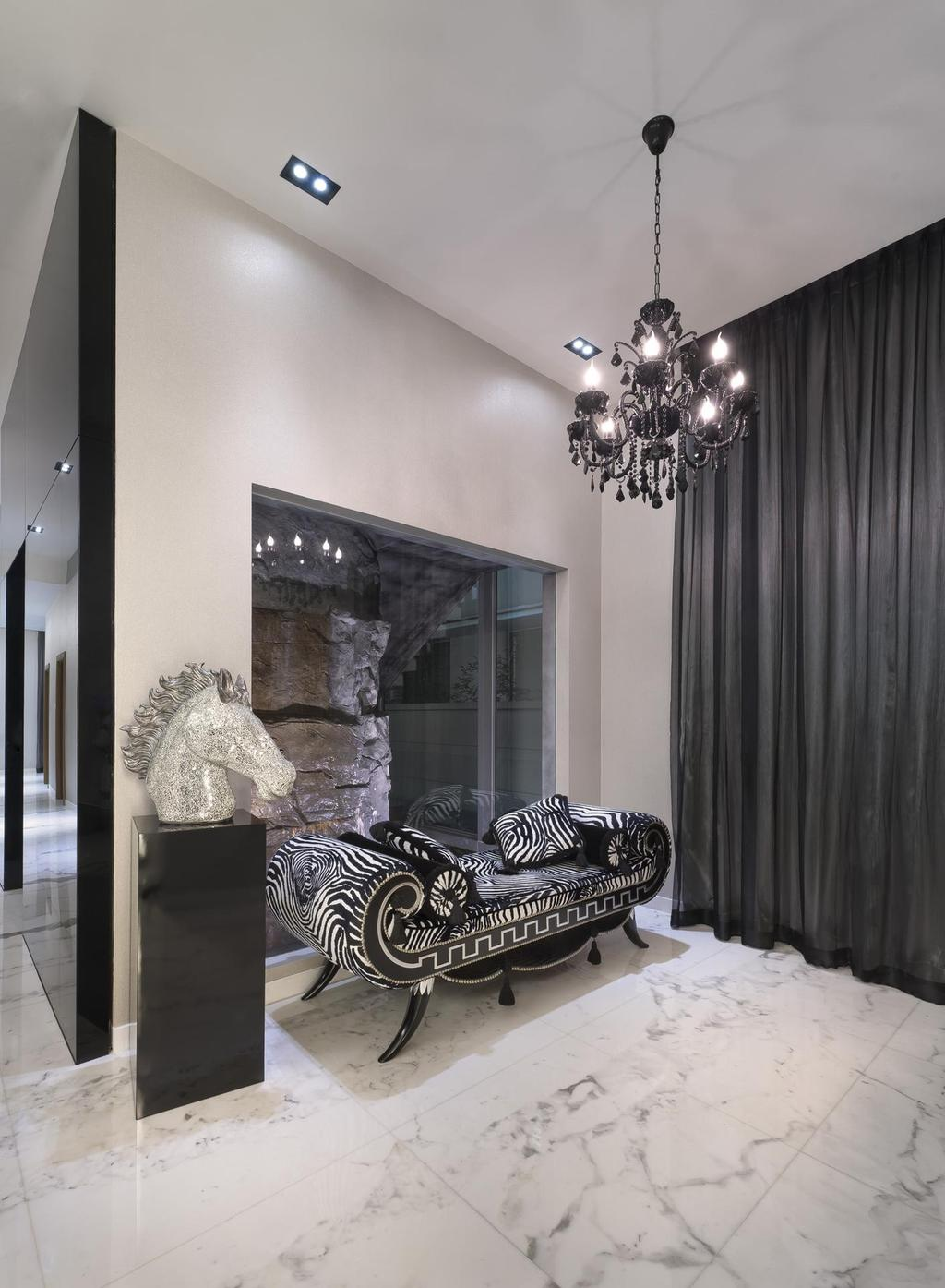 Eclectic, Landed, Thomson Bungalow, Interior Designer, Space Vision Design, Chandelier, Victorian, Monchrome, White, Marble, Flooring, Black, Accents, Veins, Spotlight, Recessed Lighting, Statue, Bench, Curtains, Chair, Furniture