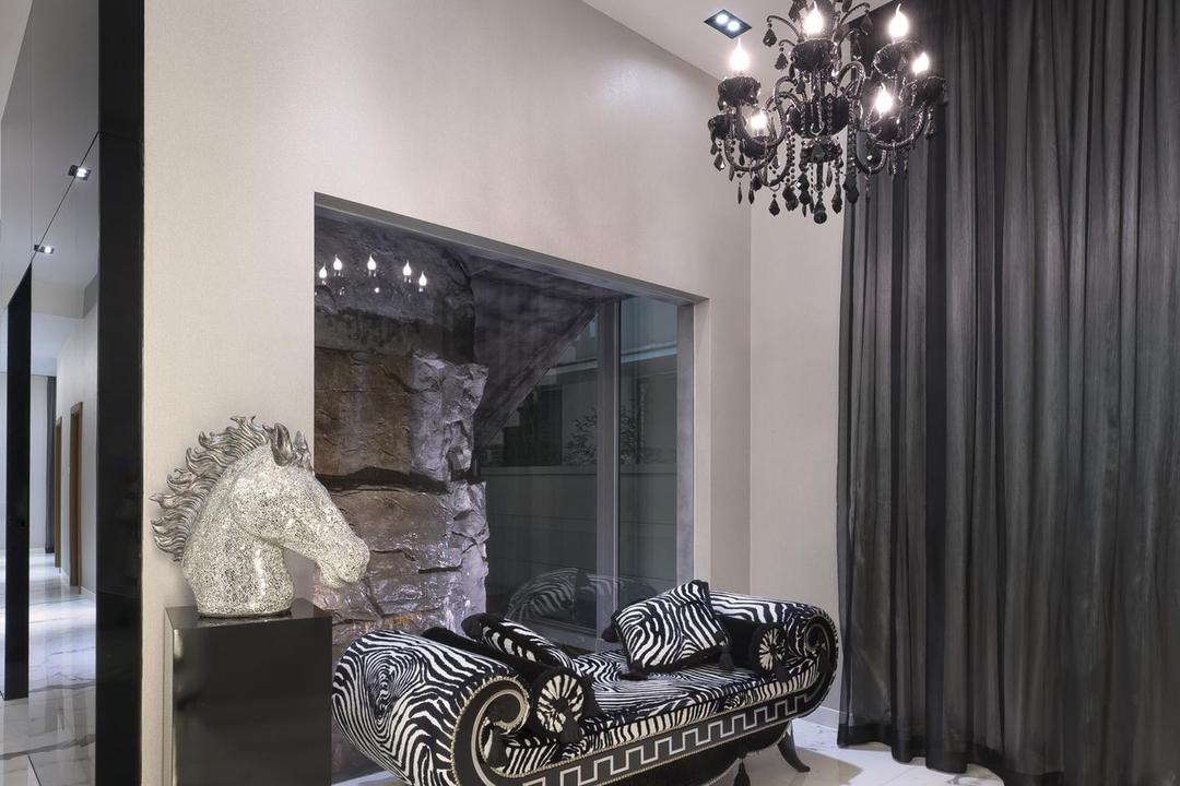Thomson Bungalow, Space Vision Design, Eclectic, Landed, Chandelier, Victorian, Monchrome, White, Marble, Flooring, Black, Accents, Veins, Spotlight, Recessed Lighting, Statue, Bench, Curtains, Chair, Furniture