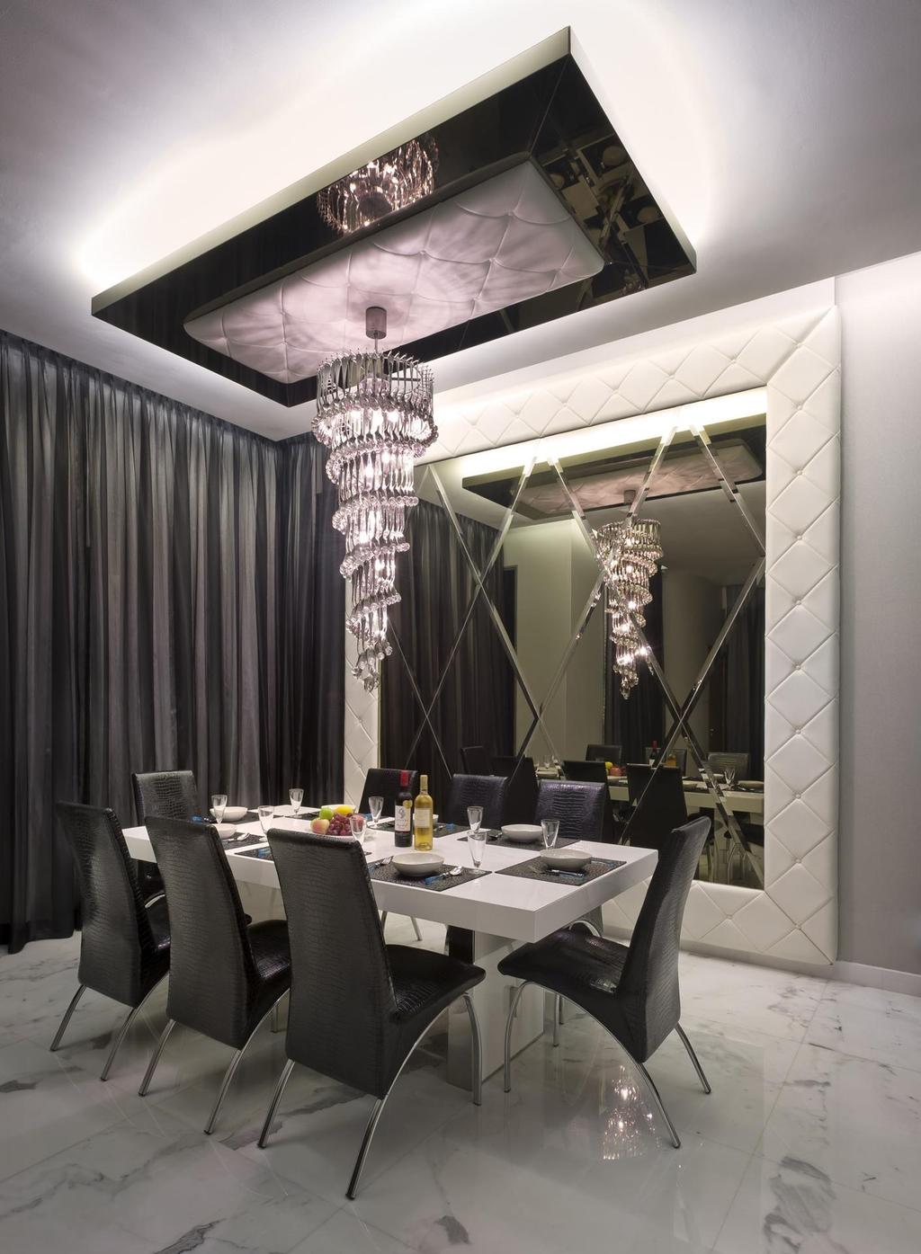 Eclectic, Landed, Dining Room, Thomson Bungalow, Interior Designer, Space Vision Design, High, Ceiling, Ceiling Light, Chandelier, White, Marble, Flooring, Black, Veins, Accents, Padded, Feature, Wall, Mirror, Victorian, Leather, Chair, Dining Table