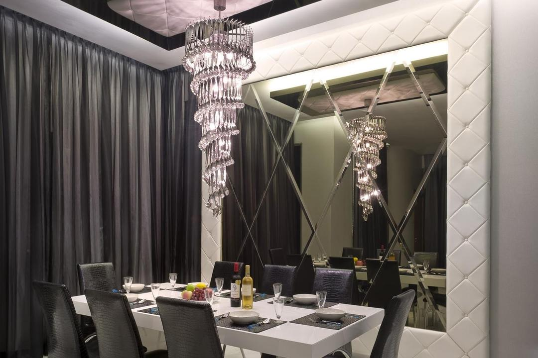 Thomson Bungalow, Space Vision Design, Eclectic, Dining Room, Landed, High, Ceiling, Ceiling Light, Chandelier, White, Marble, Flooring, Black, Veins, Accents, Padded, Feature, Wall, Mirror, Victorian, Leather, Chair, Dining Table