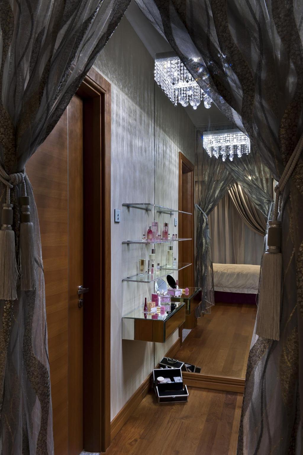 Eclectic, Landed, Bedroom, Thomson Bungalow, Interior Designer, Space Vision Design, Chandelier, Mirror, Shelves, Shelf, Glass Shelves, Glass Shelf, Curtains, Parquet, White