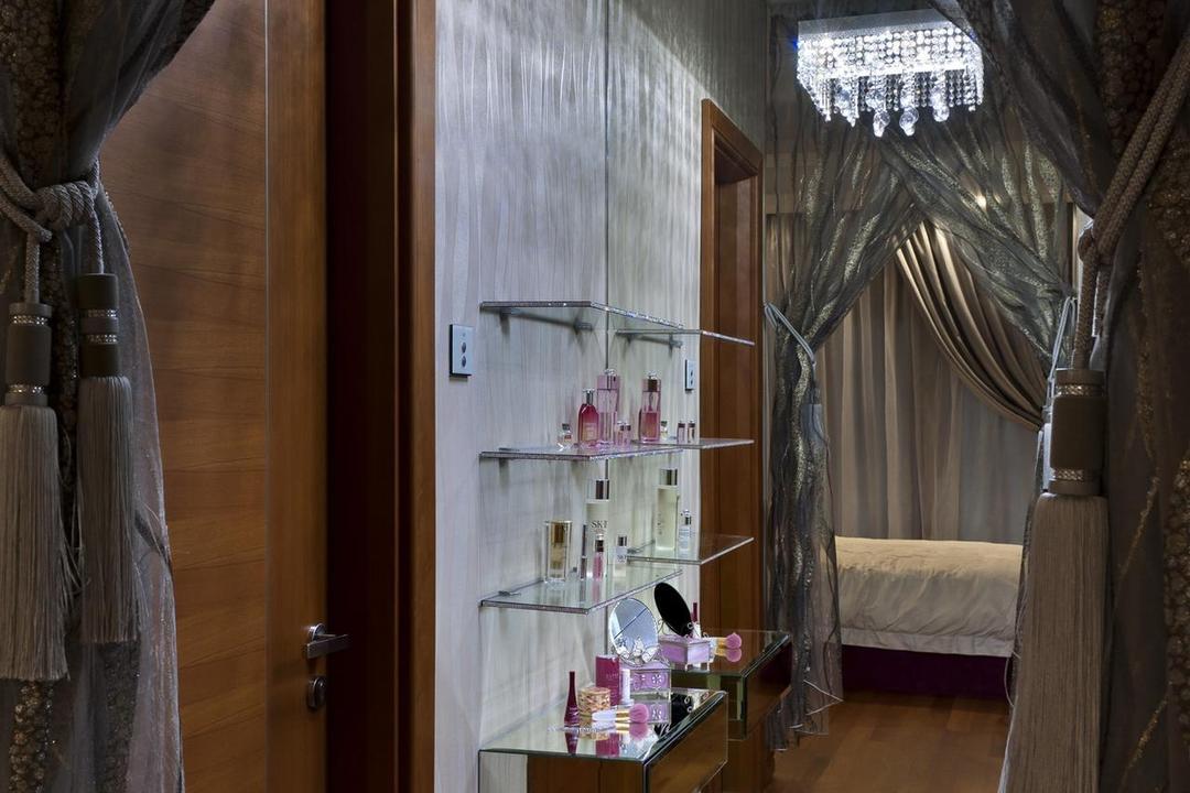Thomson Bungalow, Space Vision Design, Eclectic, Bedroom, Landed, Chandelier, Mirror, Shelves, Shelf, Glass Shelves, Glass Shelf, Curtains, Parquet, White